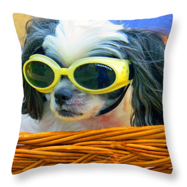 Front Seat Driver - Puppy Mania Throw Pillow by Ella Kaye Dickey