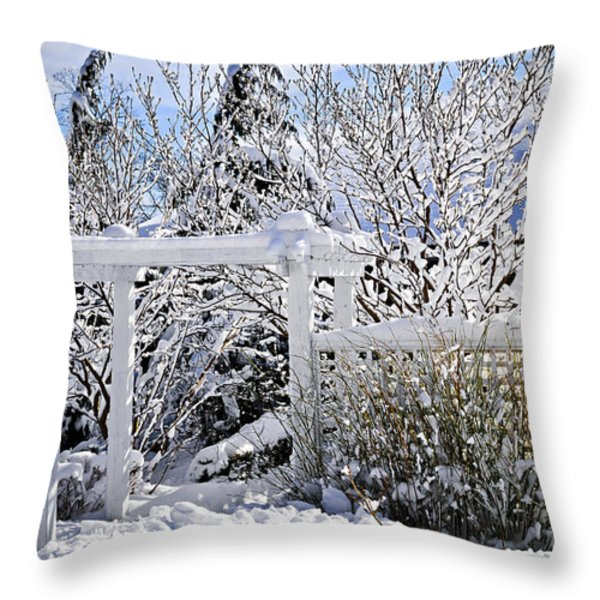 Front yard of a house in winter Throw Pillow by Elena Elisseeva