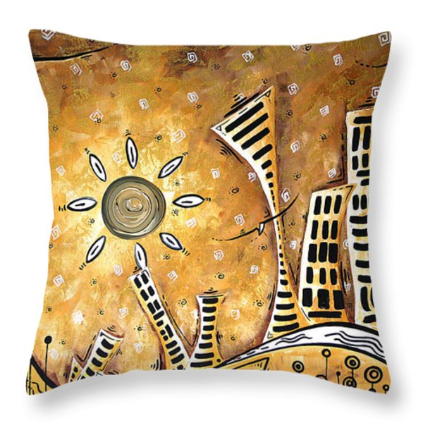 Frosted City By Madart Throw Pillow by Megan Duncanson
