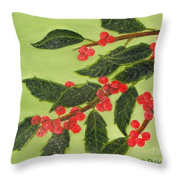 Frosty Holly Berries Throw Pillow by Shelia Kempf