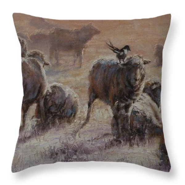 Frosty Morning Throw Pillow by Mia DeLode