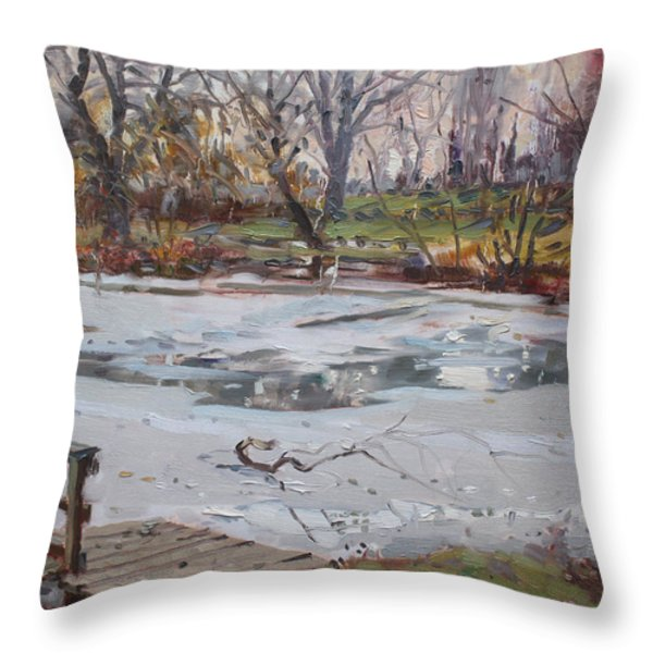 Frozen Pond Throw Pillow by Ylli Haruni