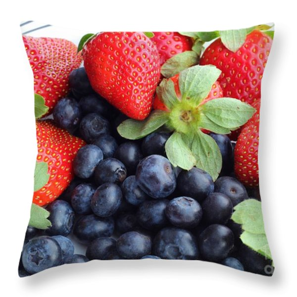 Fruit 2- Strawberries - Blueberries Throw Pillow by Barbara Griffin