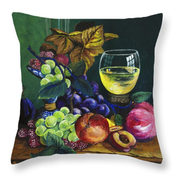Fruit And Wine Throw Pillow by Karon Melillo DeVega