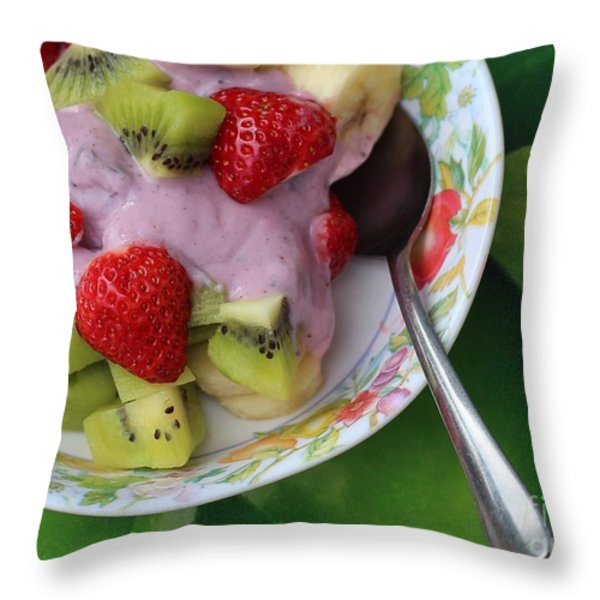 Fruit And Yogurt - Dessert - Food Throw Pillow by Barbara Griffin