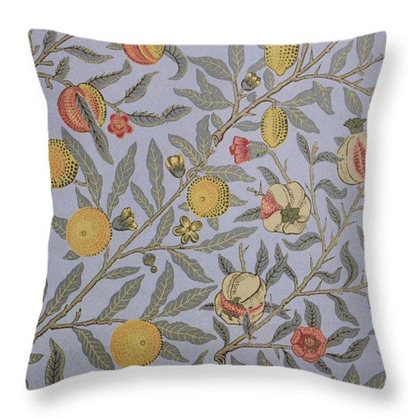 Fruit Design 1866 Throw Pillow by William Morris