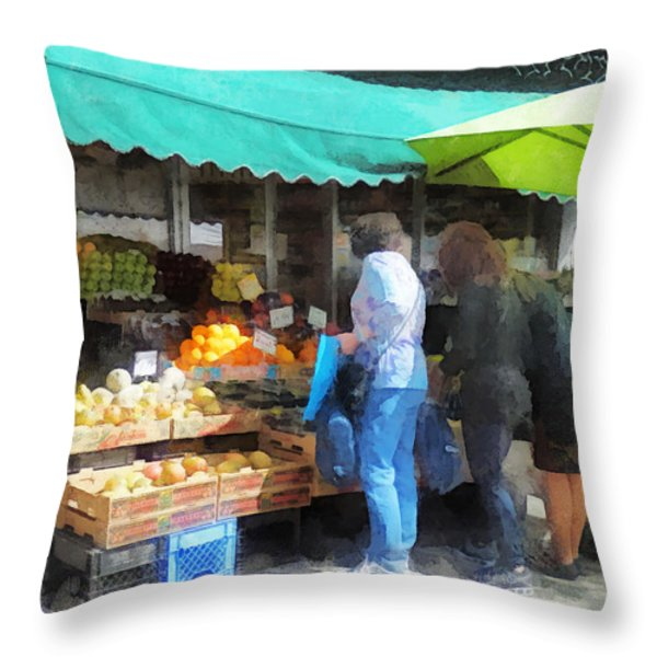 Fruit For Sale Hoboken Nj Throw Pillow by Susan Savad