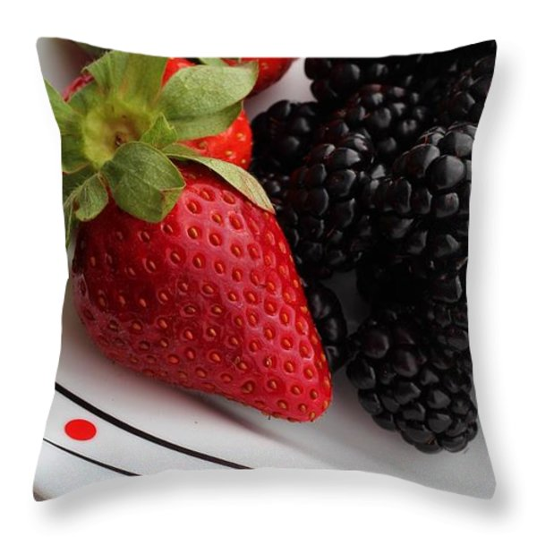 Fruit II - Strawberries - Blackberries Throw Pillow by Barbara Griffin