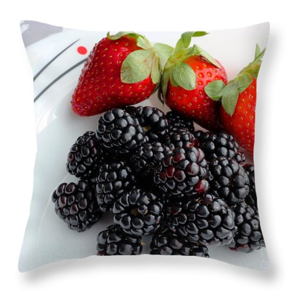 Fruit iv - Strawberries - Blackberries Throw Pillow by Barbara Griffin