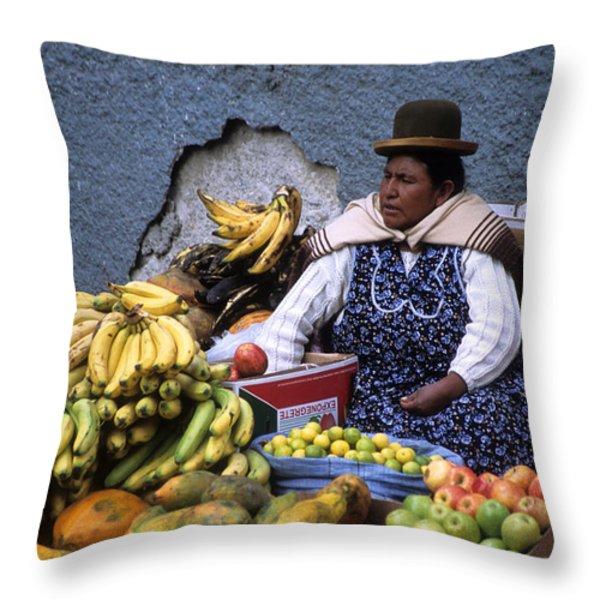 Fruit Seller Throw Pillow by James Brunker