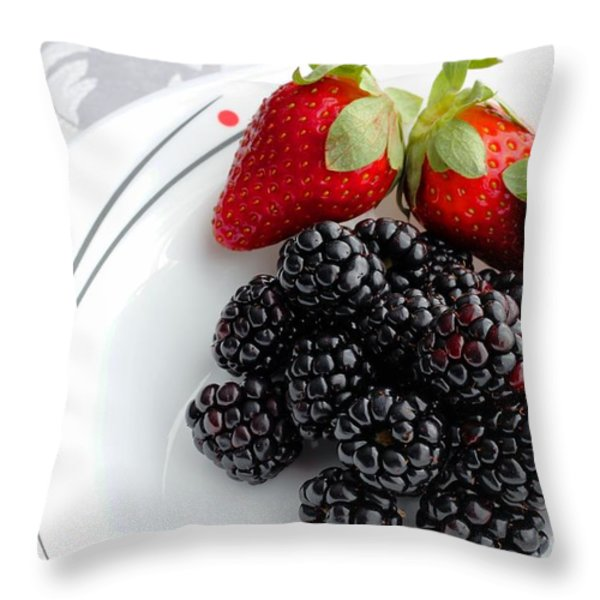 Fruit V - Strawberries - Blackberries Throw Pillow by Barbara Griffin