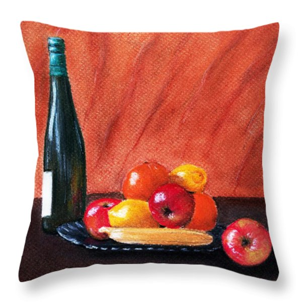 Fruits and Wine Throw Pillow by Anastasiya Malakhova