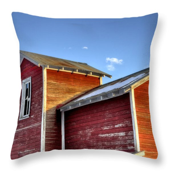 Ft Collins Barn Sunset 13505 Throw Pillow by Jerry Sodorff