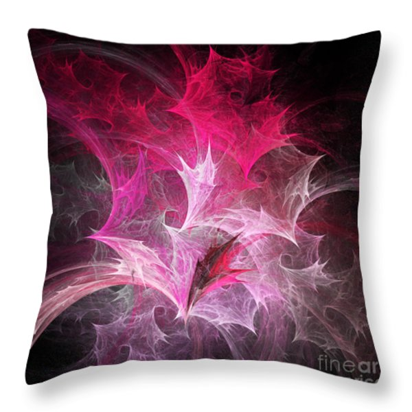 Fuchsia Fountain Abstract Throw Pillow by Andee Design