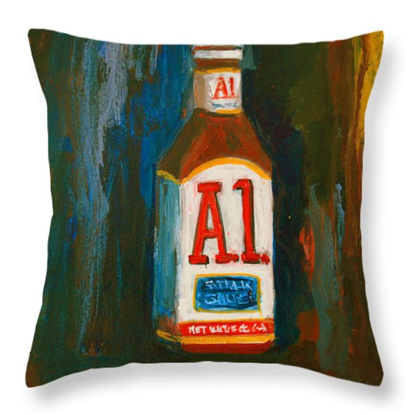 Full Flavored - A.1 Steak Sauce Throw Pillow by Patricia Awapara