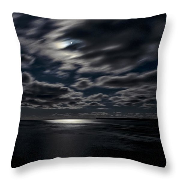 Full Moon On The Bay Of Fundy Throw Pillow by Marty Saccone
