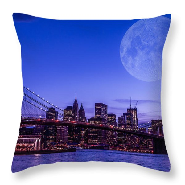 Full Moon Over Manhattan II Throw Pillow by Hannes Cmarits