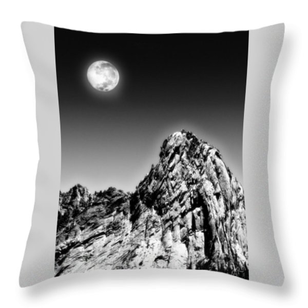 Full Moon Over The Suicide Rock Throw Pillow by Ben and Raisa Gertsberg