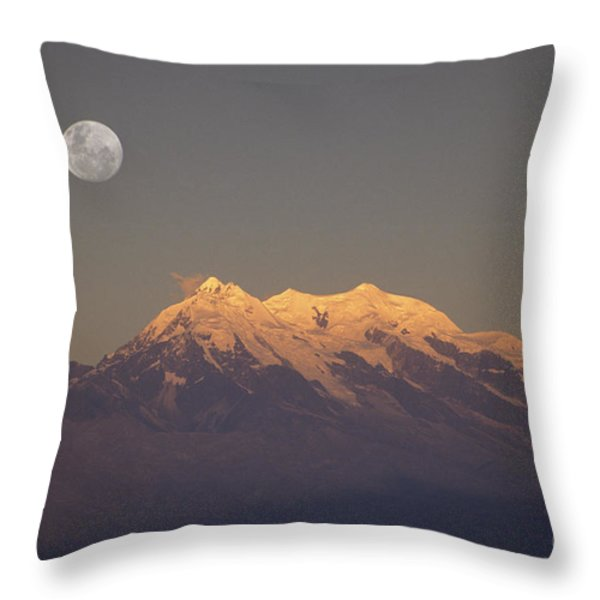 Full moon rise over Mt Illimani Throw Pillow by James Brunker