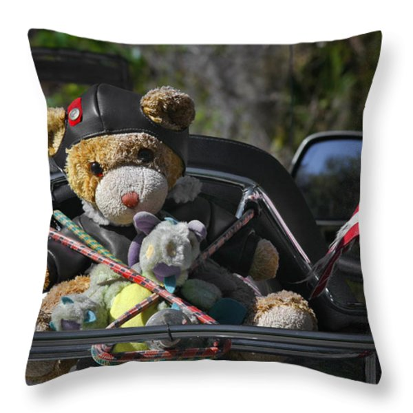 Full Throttle Teddy Bear Throw Pillow by Christine Till