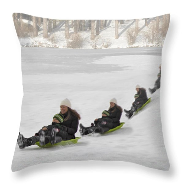 Fun In The Snow Throw Pillow by Susan Candelario
