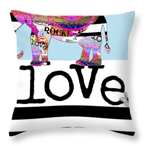 Fun Rock and Roll Elephant Throw Pillow by Anahi DeCanio