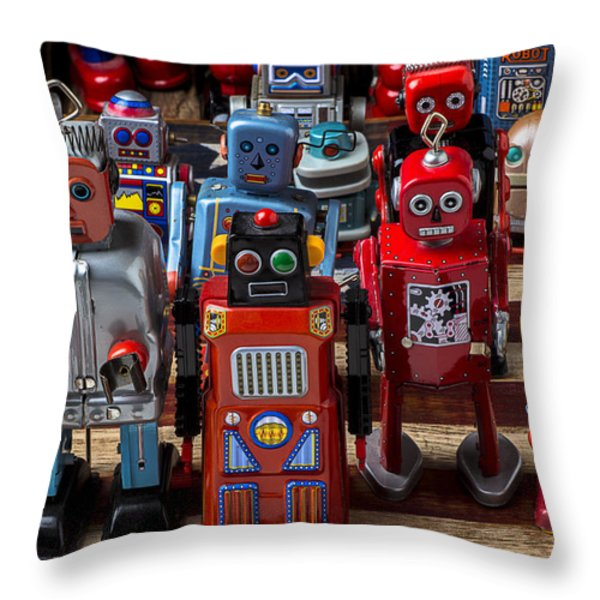 Fun toy robots Throw Pillow by Garry Gay
