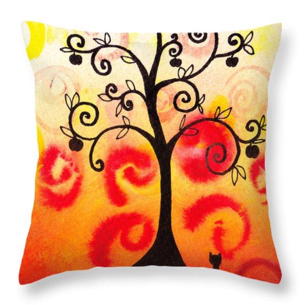 Fun Tree Of Life Impression Iv Throw Pillow by Irina Sztukowski