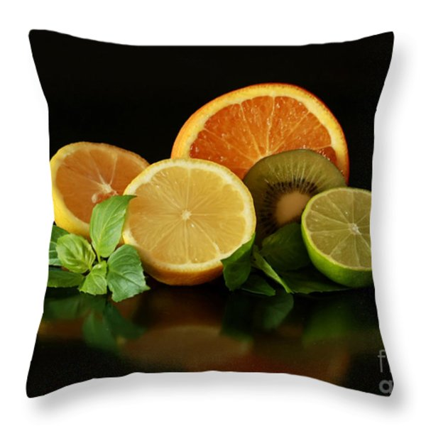 Fun With Citrus And Kiwi Fruit Throw Pillow by Inspired Nature Photography Fine Art Photography