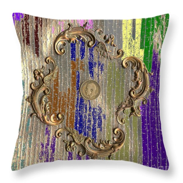 Funky British Shilling Throw Pillow by Joseph Baril
