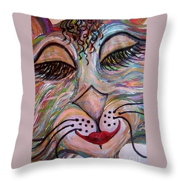 Funky Feline Throw Pillow by Eloise Schneider