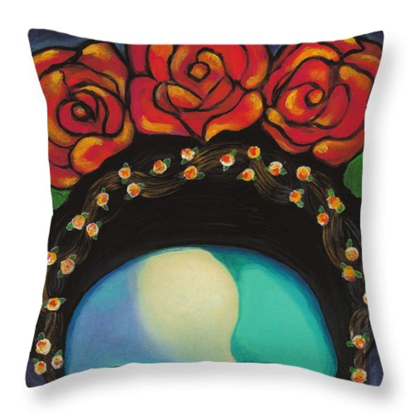 Funky Frida Throw Pillow by Carla Bank