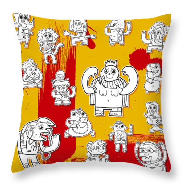 Funny Doodle Characters Urban Art Throw Pillow by Frank Ramspott