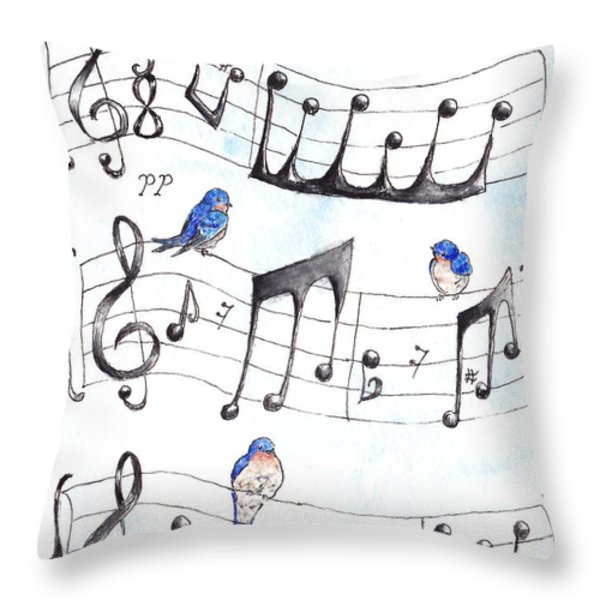 Fur Elise Song Birds Throw Pillow by Theresa Stinnett