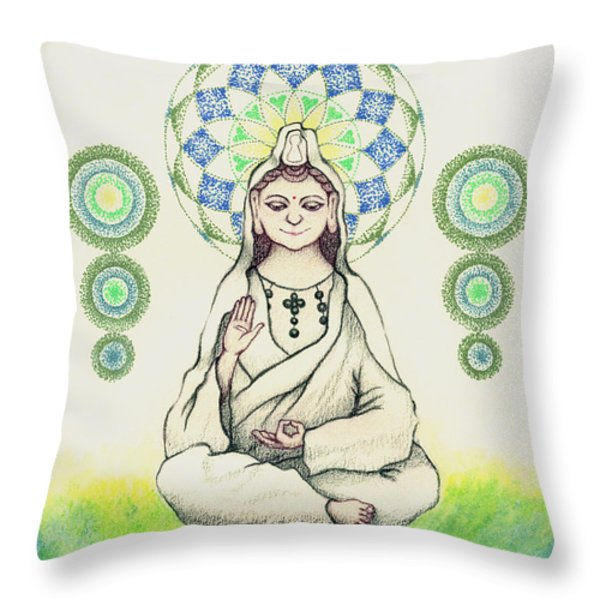 FUREAI Quan Yin in Kyoto Throw Pillow by Keiko Katsuta