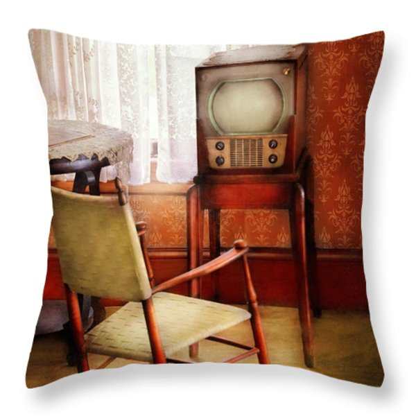 Furniture - Chair - The Invention of Television  Throw Pillow by Mike Savad