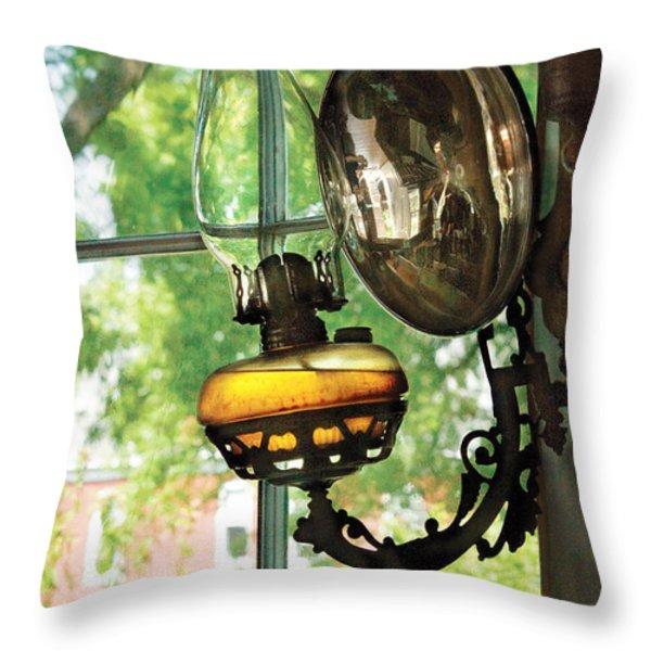 Furniture - Lamp - An oil lantern Throw Pillow by Mike Savad