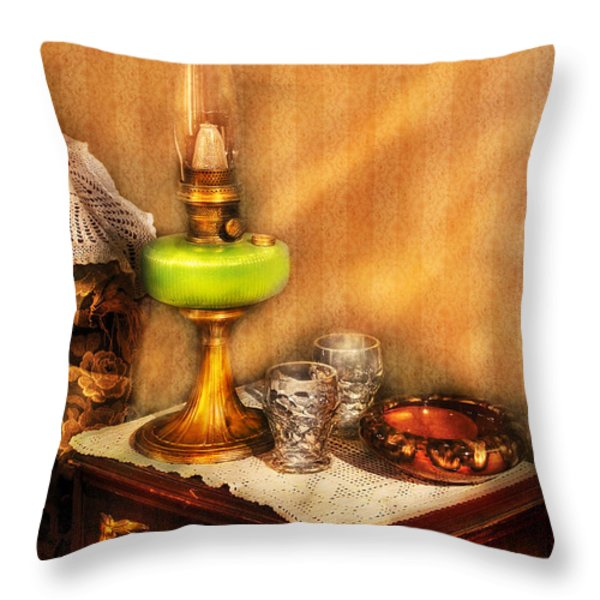 Furniture - Lamp - The Gas Lamp Throw Pillow by Mike Savad