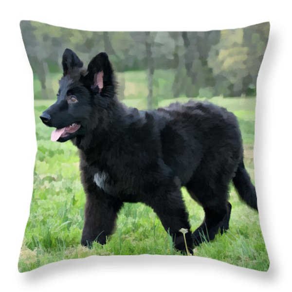 Furry Puppy Throw Pillow by Sandy Keeton