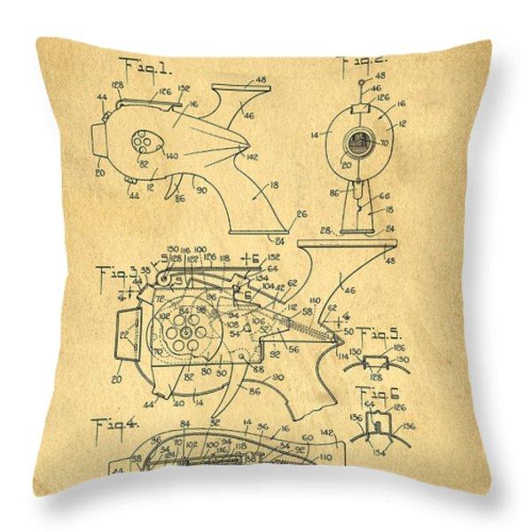 Futuristic Toy Gun Weapon Patent Throw Pillow by Edward Fielding