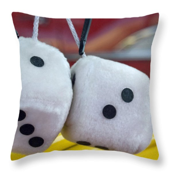 Fuzzy Dice Throw Pillow by Charlette Miller