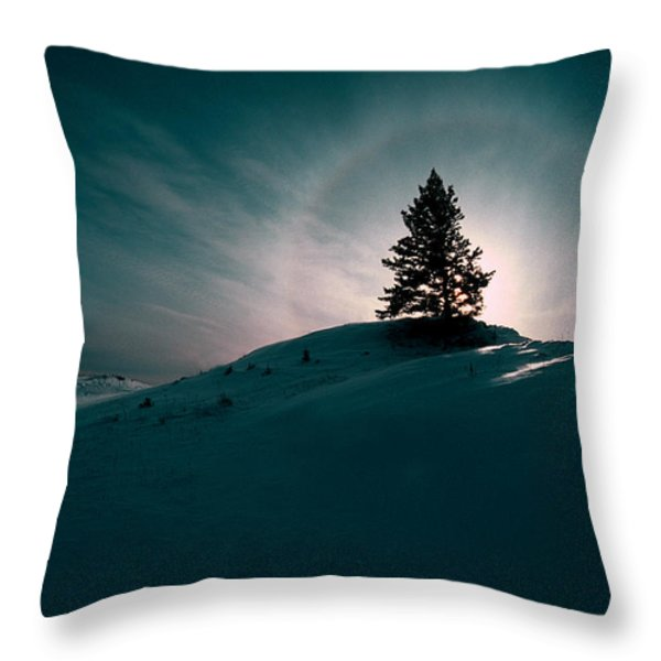Fv4157, Will Datene Pine Tree On A Hill Throw Pillow by Will Datene