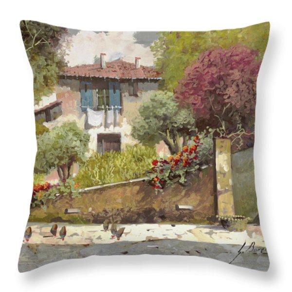 galline Throw Pillow by Guido Borelli