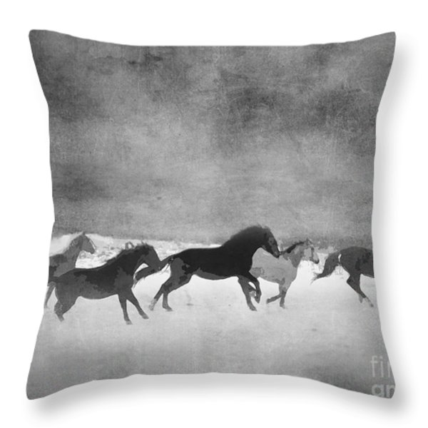 Galloping Herd Black And White Throw Pillow by Renee Forth-Fukumoto