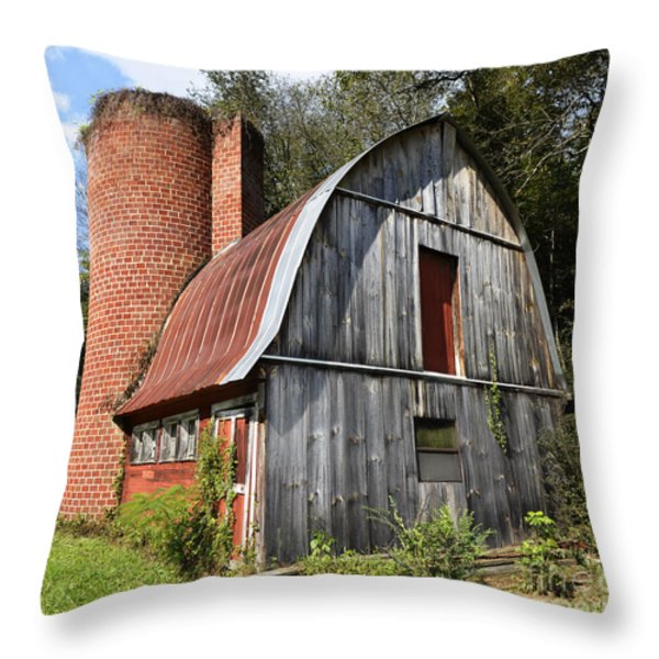 Gambrel-roofed Barn Throw Pillow by Paul Mashburn