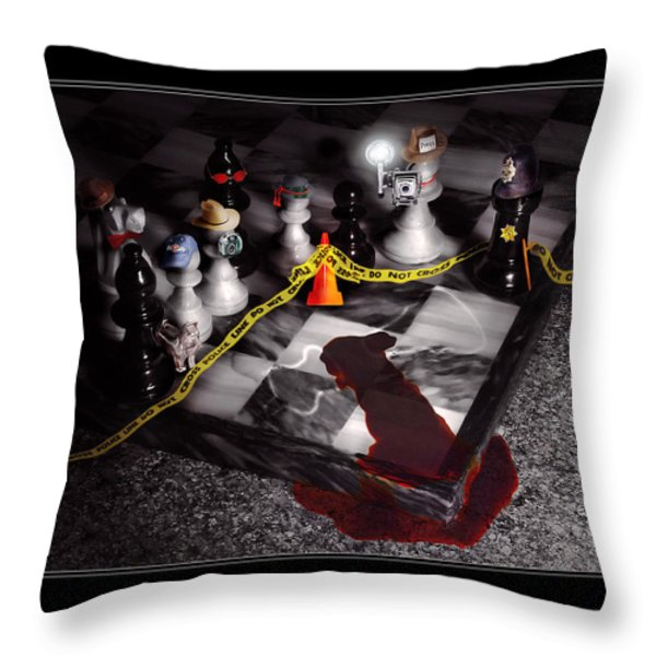 Game - Chess - It's only a Game Throw Pillow by Mike Savad
