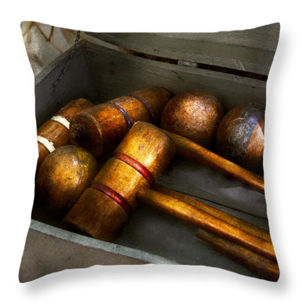 Game - Everyone Loves To Play Croquet   Throw Pillow by Mike Savad