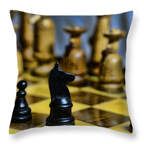 Game of Chess Throw Pillow by Paul Ward