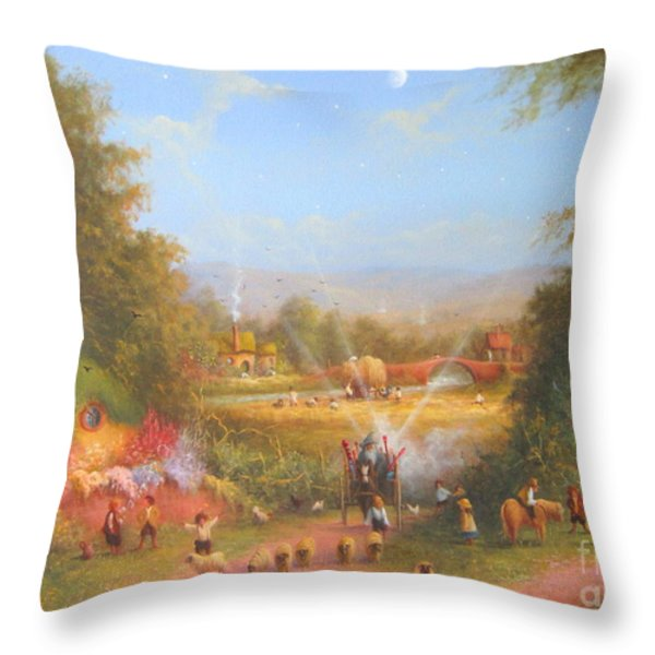Gandalf's Return Fireworks In The Shire. Throw Pillow by Joe  Gilronan