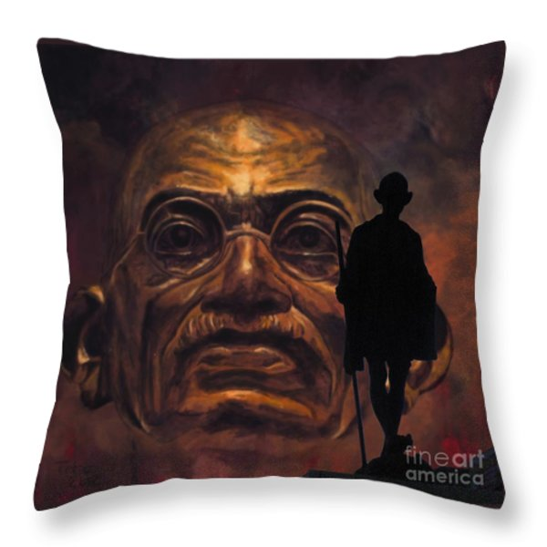 Gandhi - the walk Throw Pillow by Richard Tito